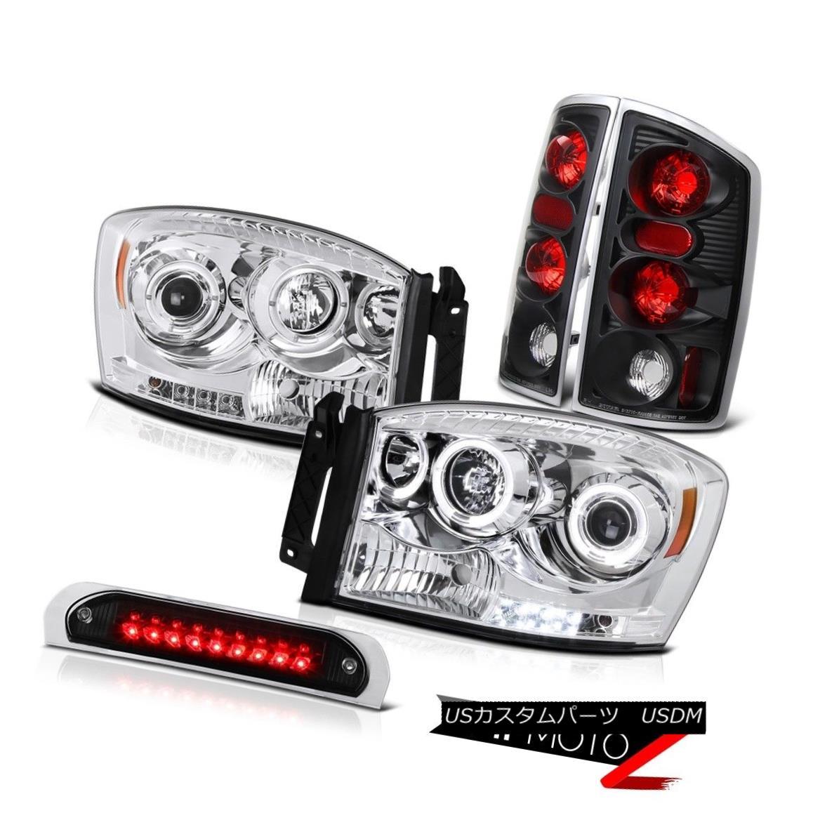 ヘッドライト Dual Halo Angel Eye Headlights Rear Black Tail Lamps Roof Stop LED 2006 Ram WS デュアルヘイローエンジェルアイヘッドライトリアテールランプルーフストップLED 2006 Ram WS