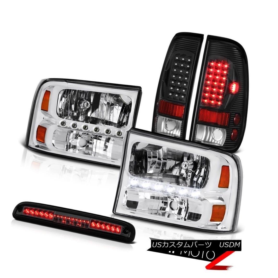 ヘッドライト 99-04 Ford F350 SD Factory Style Headlight Black LED Tail Lamps Tinted 3rd Brake 99-04 Ford F350 SDファクトリースタイルヘッドライトブラックLEDテールランプ第3ブレーキ