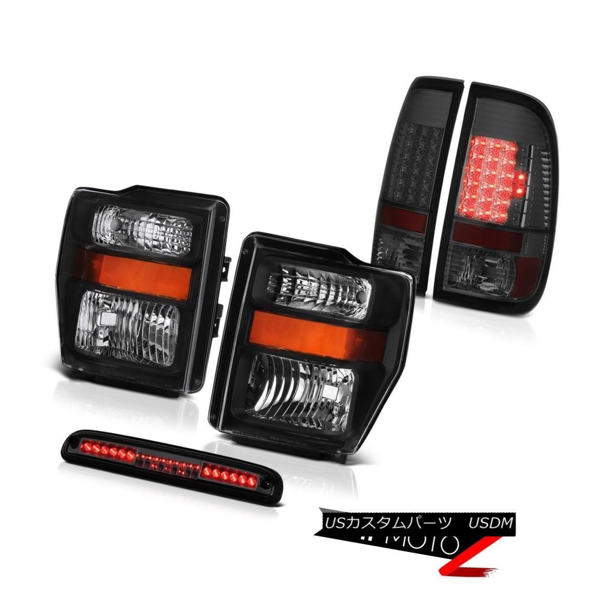ヘッドライト 2008 2009 2010 F250 6.3L Raven Black Headlamps Smoke LED Taillights Third Brake 2008 2009 2010 F250 6.3LレーベンブラックヘッドランプスモークLEDテールライト第3ブレーキ