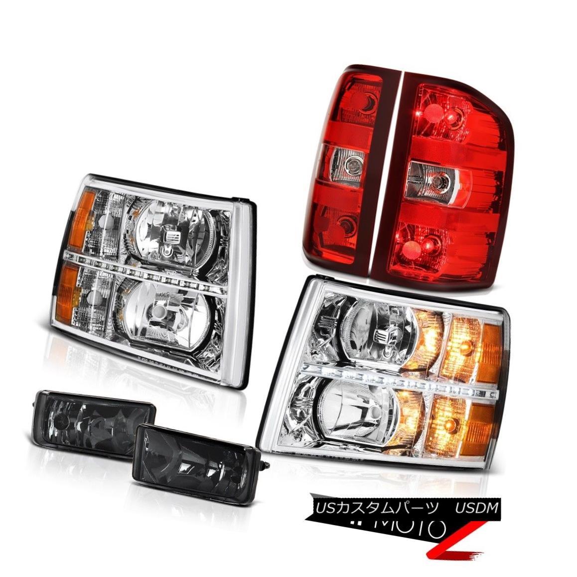 ヘッドライト 07-13 Silverado 1500 Headlights led drl smokey fog lamps red taillights Assembly 07-13 Silverado 1500ヘッドライトled drlスモーキーフォグランプ赤いテールライトアセンブリ