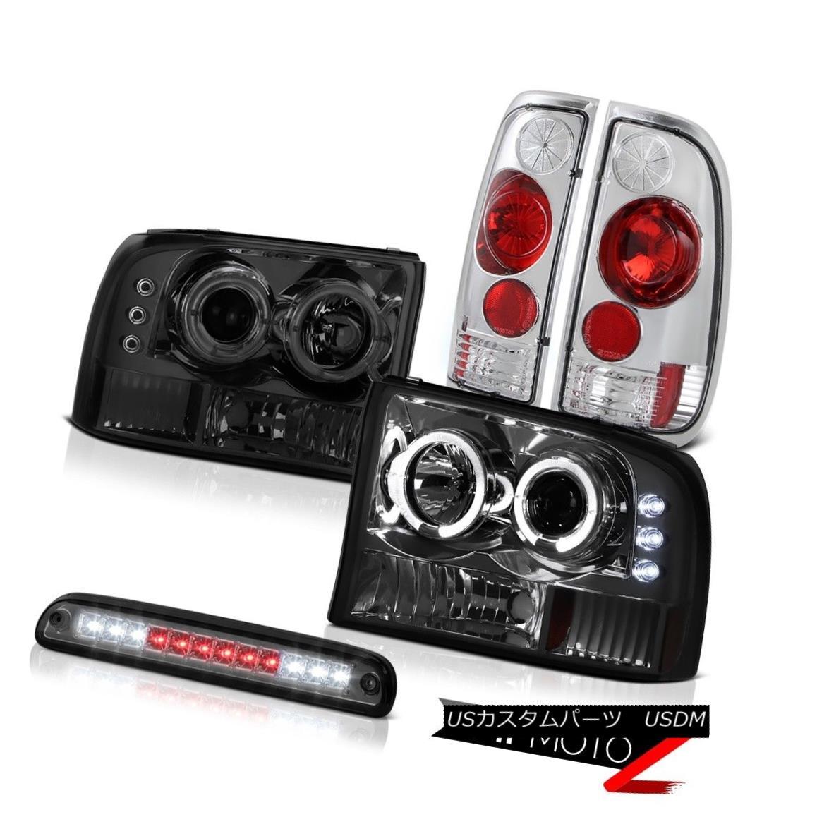 ヘッドライト Dark Halo LED Headlamps High Stop Smoke Rear Tail Lamps 1999-2004 Ford SuperDuty ダークハローLEDヘッドライトハイストップスモークリアテールランプ1999-2004 Ford SuperDuty