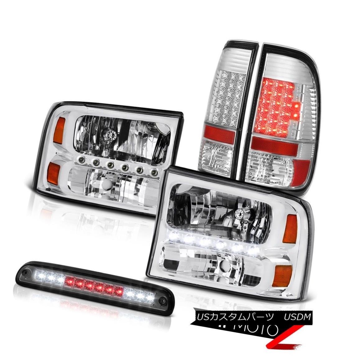 ヘッドライト 99-04 F250 5.4L Left Right Headlamps LED Bulb Brake Tail Lights High Stop Smoke 99-04 F250 5.4L左ライトヘッドランプLED電球ブレーキテールライトハイストップスモーク