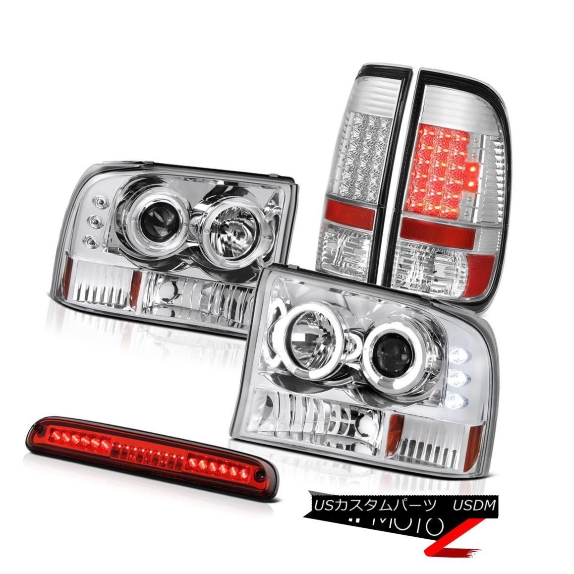 ヘッドライト 99-04 F250 XLT Chrome Halo Headlights Clear LED Tail Lights Roof Brake Cargo 99-04 F250 XLTクロームハローヘッドライトクリアLEDテールライトルーフブレーキカーゴ