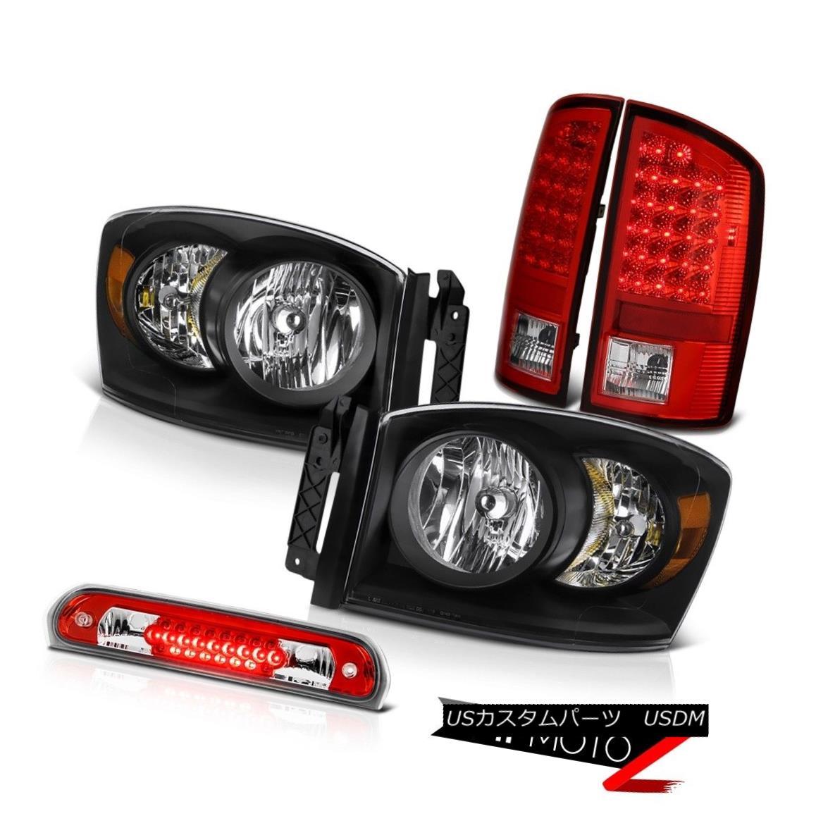 ヘッドライト 2006 Dodge Ram 2500 Pair Raven Black Headlights LED Taillamps Third Brake Cargo 2006 Dodge Ram 2500ペアのRaven BlackヘッドライトLED Taillamps第3ブレーキ貨物