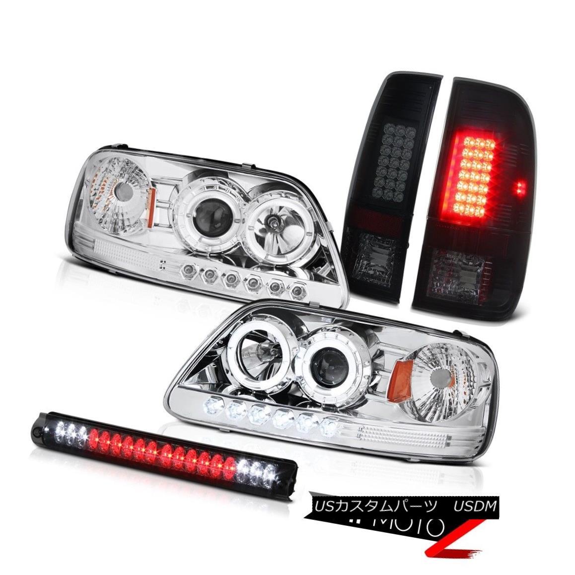 ヘッドライト 97-03 F150 2X Angel Eye Projector Headlight LED Tail Lights 3rd Brake Lamp Smoke 97-03 F150 2XエンジェルアイプロジェクターヘッドライトLEDテールライト第3ブレーキランプスモーク