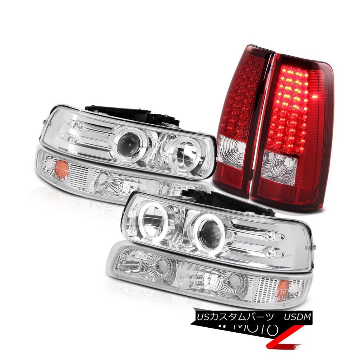 ヘッドライト L+R Halo Projector Headlight+Amber Parking Signal Lamp+RED/CLEAR LED Tail Light L + R Haloプロジェクターヘッドライト+ Ambe  r駐車信号ランプ+ RED / CLEAR LEDテールライト