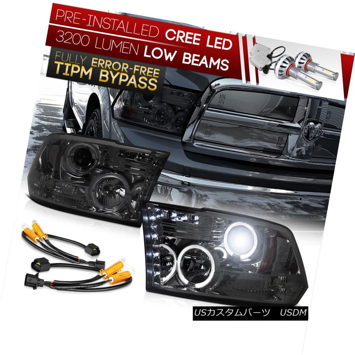 ヘッドライト {Built-In LED Low Beam} 2009-2018 RAM Truck Smoke Lens DRL Halo Ring Headlights {内蔵LEDロービーム} 2009-2018 RAMトラックスモークレンズDRLハローリングヘッドライト