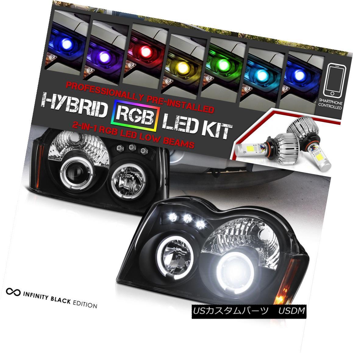 ヘッドライト 2005-2007 Jeep Grand Cherokee LED Halo Headlight [Flashing Multi-Color Low Beam] 2005 - 2007年ジープグランドチェロキーLEDハローヘッドライト[点滅多色ロービーム]