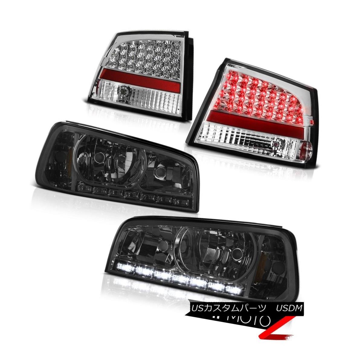 ヘッドライト 2006-2008 Dodge Charger 2.7L Left Right Smoke LED Headlights Chrome LED Taillamp 2006-2008ダッジチャージャー2.7L左スモークLEDヘッドライトクロームLEDトライアンランプ