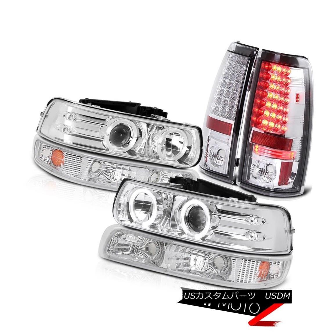 ヘッドライト 99-02 Silverado Crystal Clear Headlight+Amber Bumper Lamp+Chrome LED Tail Light 99-02 Silveradoクリスタルクリアヘッドライト+ Ambe  rバンパーランプ+クロームLEDテールライト