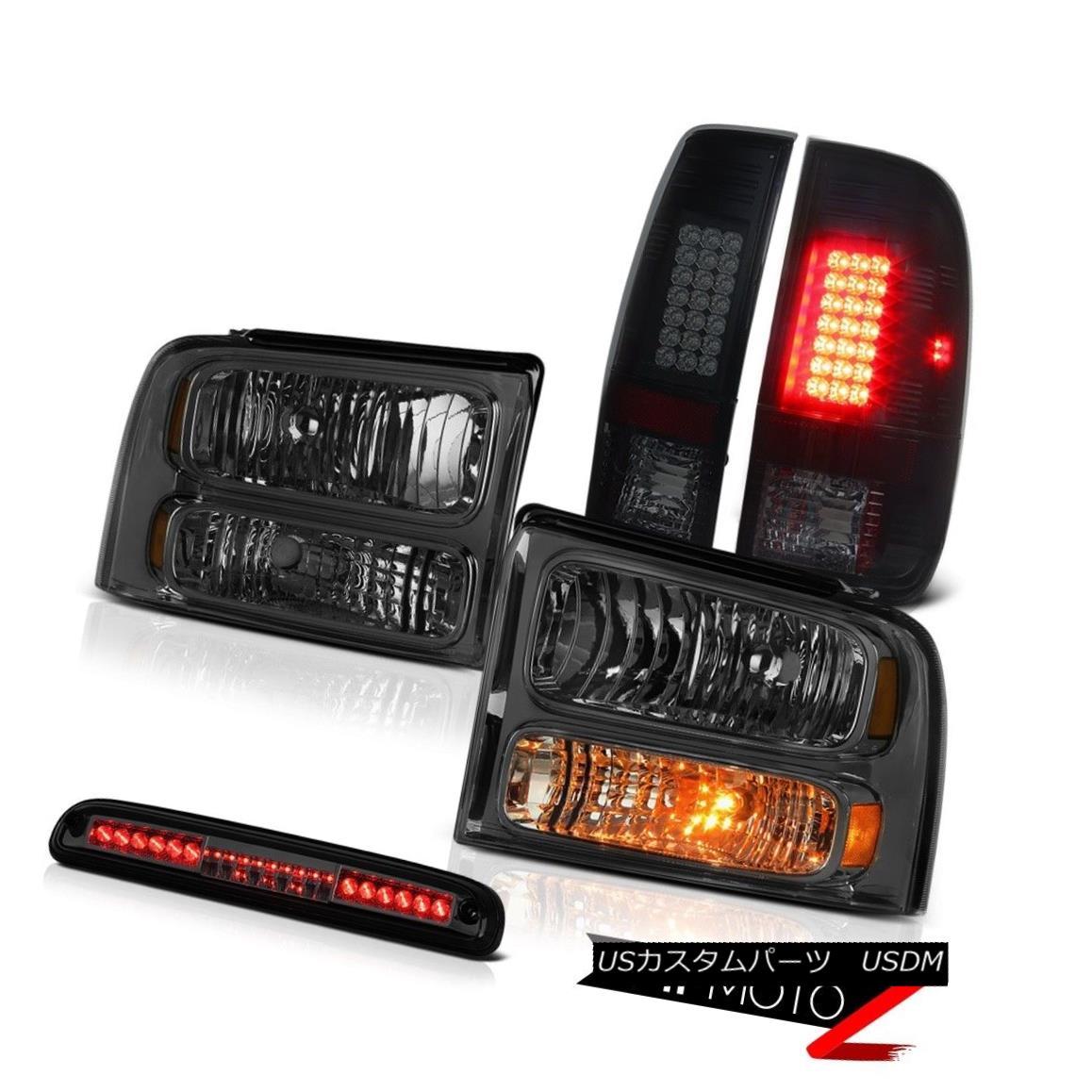 ヘッドライト 2005-2007 F350 XLT Dark Smoke Headlights Black LED TailLights Roof Stop Lamps 2005-2007 F350 XLTダークスモークヘッドライトブラックLEDテールライトルーフストップランプ