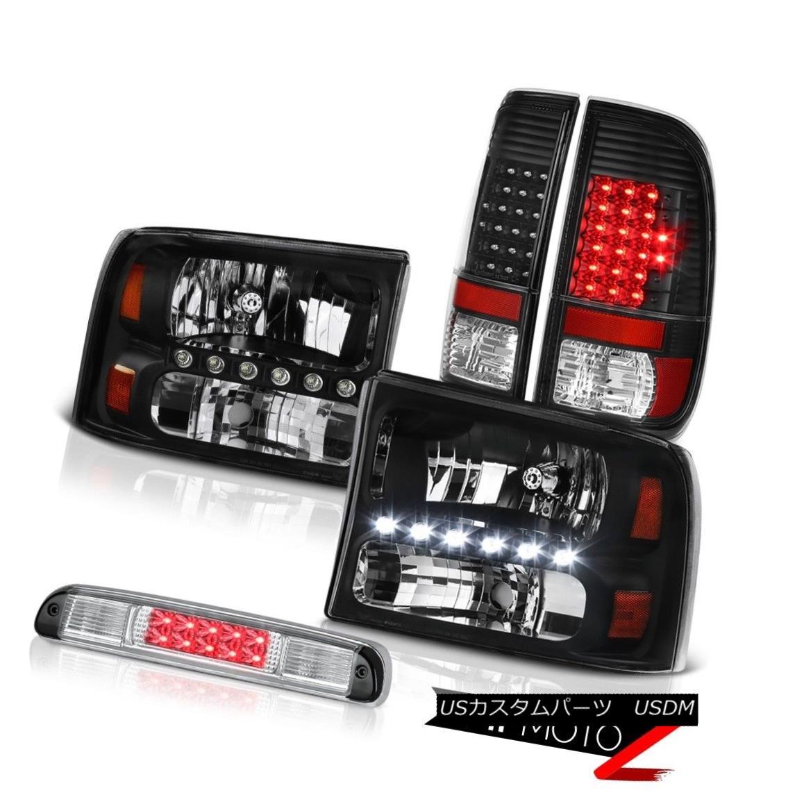 ヘッドライト Inky Black Headlights Tail Lights Assembly LED Roof Stop Clear 99-04 F250 5.4L Inky BlackヘッドライトテールライトアセンブリLEDルーフストップクリア99-04 F250 5.4L