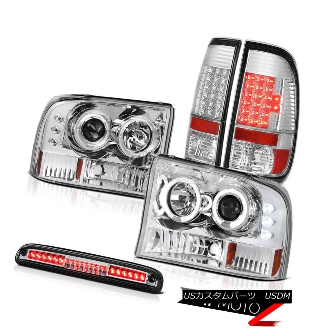 ヘッドライト 1999-2004 F350 6.8L Clear Angel Eye Headlights Chrome LED Taillights Roof Stop 1999-2004 F350 6.8LクリアエンジェルアイヘッドライトクロームLED曇り屋屋根