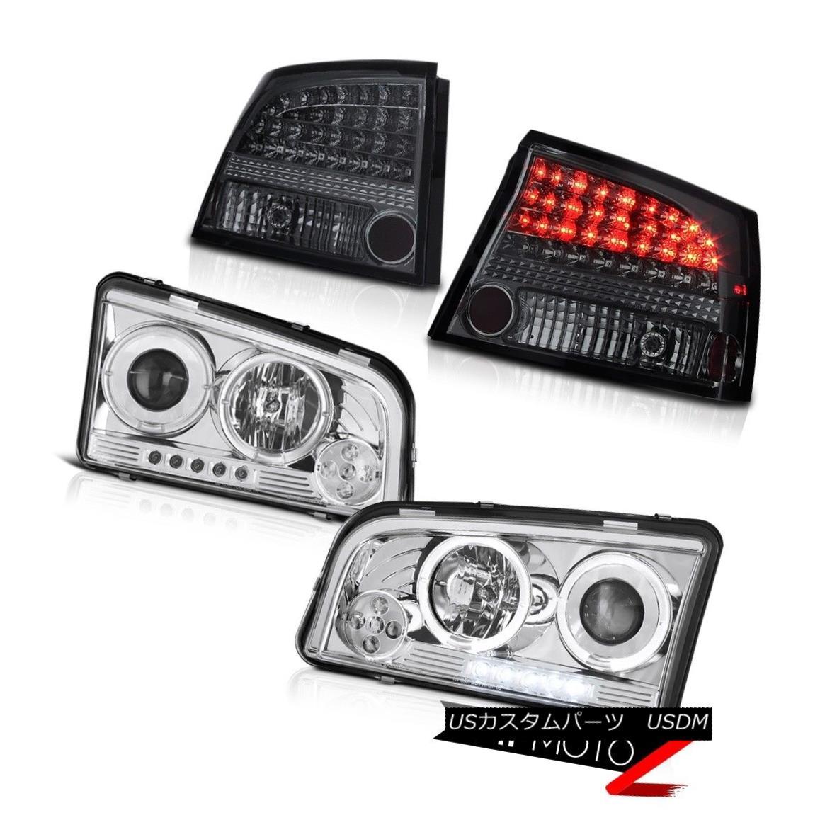 ヘッドライト 2009-2010 Charger Hemi [Euro Halo Angel] Chrome LED Headlights Tail Light Tinted 2009-2010充電器Hemi [ユーロハローエンジェル]クロームLEDヘッドライトテールライトティンテッド