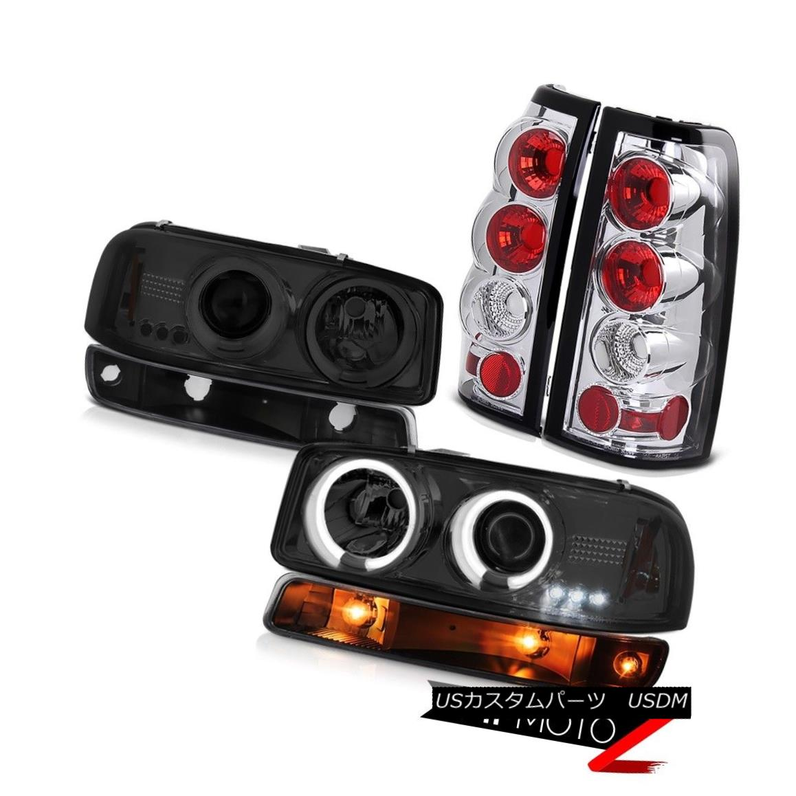 ヘッドライト 1999-2002 Sierra 6.0L Taillights black bumper lamp ccfl headlamps LED Halo Rim 1999-2002シエラ6.0L灯台ブラックバンパーランプccflヘッドランプLEDハローリム