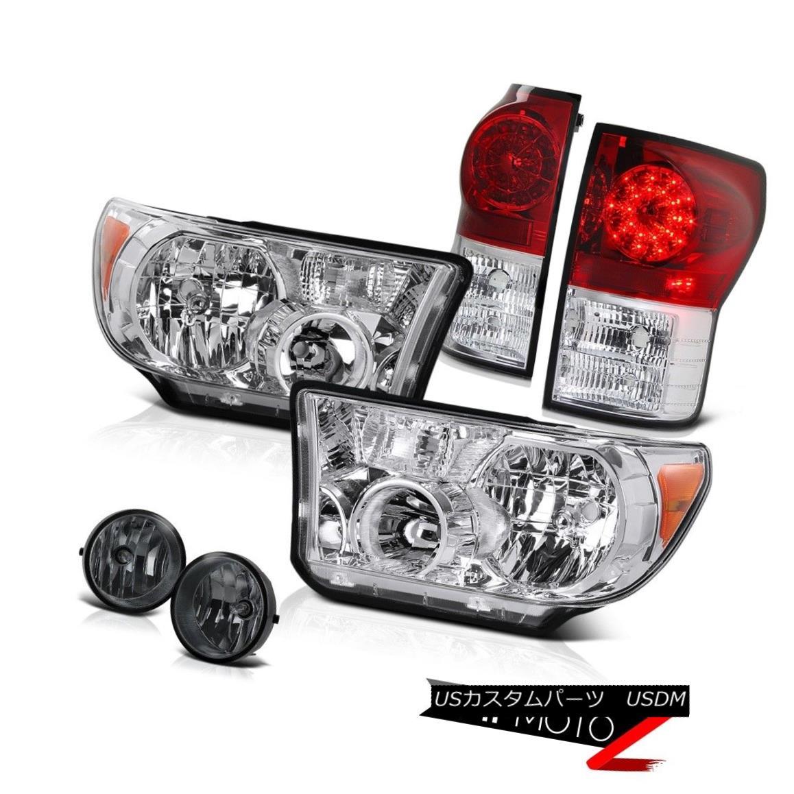 ヘッドライト Crystal Clear Replacement Headlamp+Led Tail Light+Fog Lamp 07-13 Tundra クリスタルクリア置換ヘッドランプ+ Ledテールライト+フォグランプ07-13 Tundra