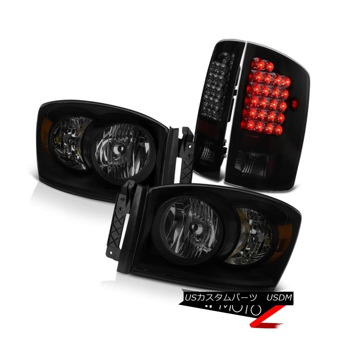 ヘッドライト 07-09 Dodge Ram 2500 3500 4.7L Darkest Smoke Headlamps Parking Brake Lights SMD 07-09ダッジラム2500 3500 4.7L暗い煙ヘッドランプパーキングブレーキライトSMD
