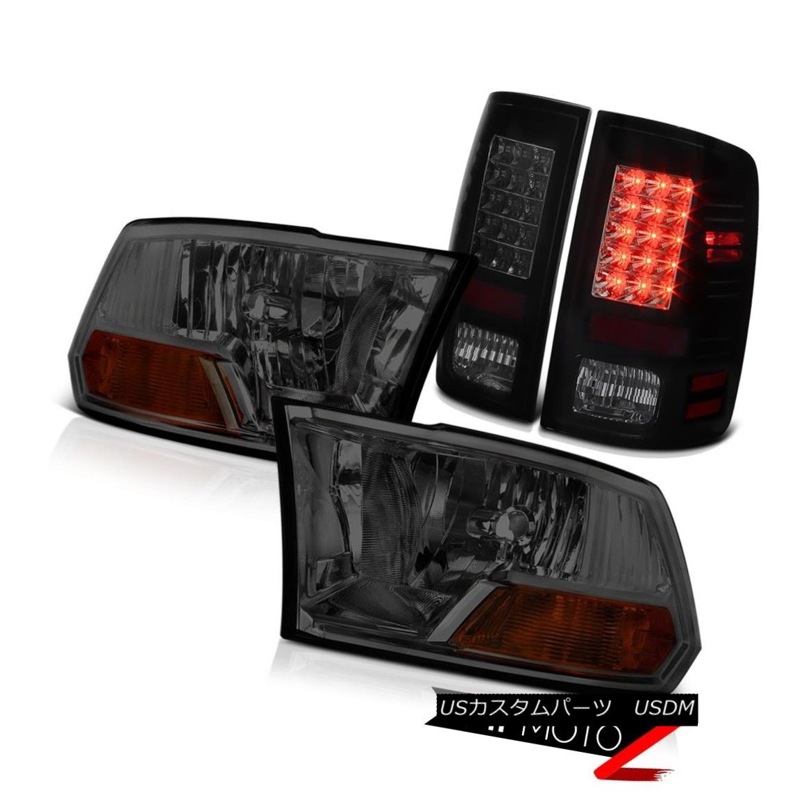 ヘッドライト 09 DARKEST SMOKE LED Tail Lights+Headlights 2009-2018 Dodge Ram 2010 2011-2018 09 DARKEST SMOKE LEDテールライト+ヘッドランプ hts 2009-2018 Dodge Ram 2010 2011-2018