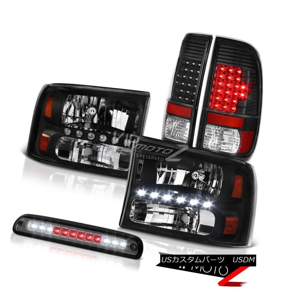 ヘッドライト 1999-2004 Ford F250 XL Crystal Black Headlights LED Tail Lamps Smoke Third Brake 1999-2004フォードF250 XLクリスタルブラックヘッドライトLEDテールランプスモークサードブレーキ