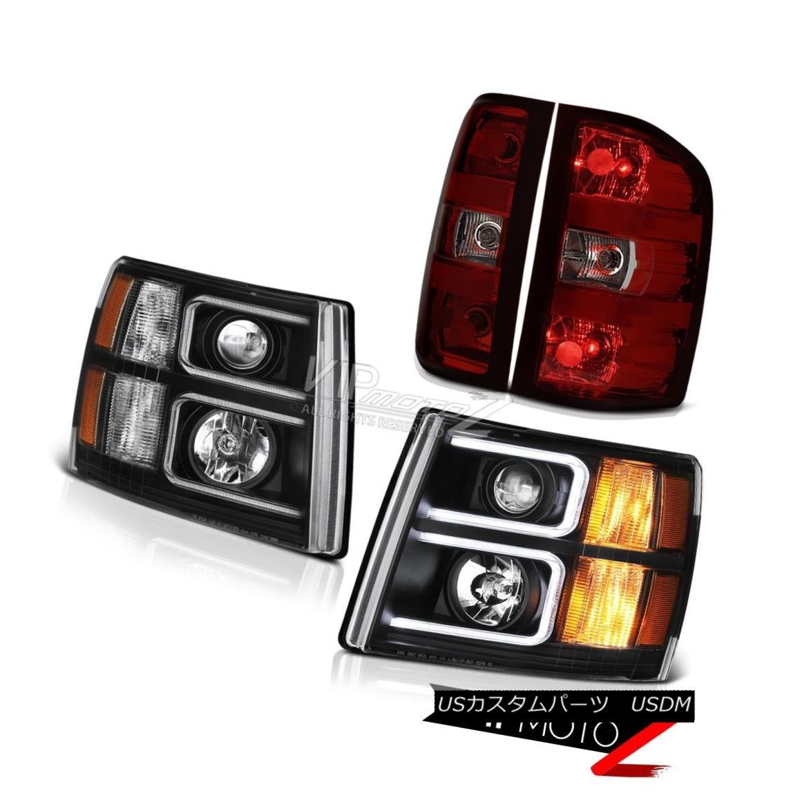 ヘッドライト 2007-2013 Silverado Inky Black Projector Headlamps Red Smoke Rear Brake Lights 2007-2013 Silverado Inky Blackプロジェクターヘッドランプ赤い煙の後部ブレーキライト