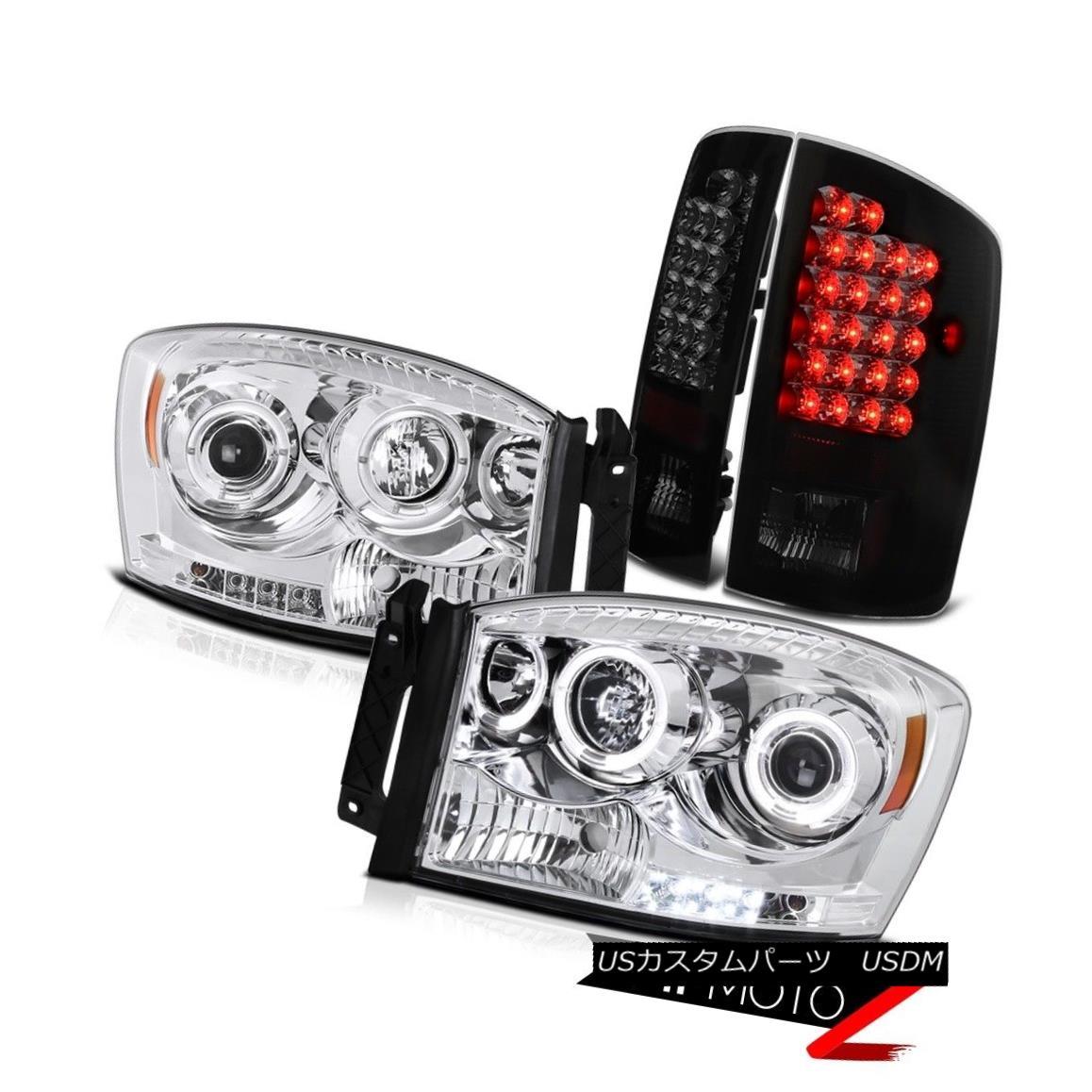 ヘッドライト 2007 2008 Dodge Ram Magnum Hemi Halo Rim Headlight LED Smoke Tail Lights 2007年ダッジラムマグナムヘミハローリムヘッドライトLED煙テールライト