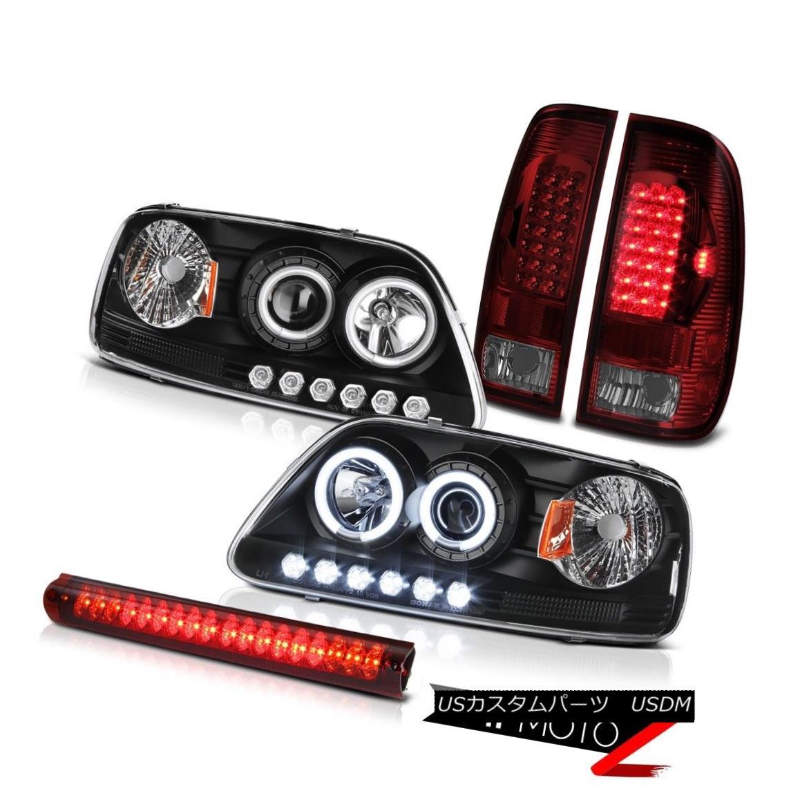 ヘッドライト 99 2000 2001 F150 XL Black CCFL Halo Headlight Cherry Red Taillamp High Stop LED 99 2000 2001 F150 XLブラックCCFLハローヘッドライトチェリーレッドタイルランプハイストップLED