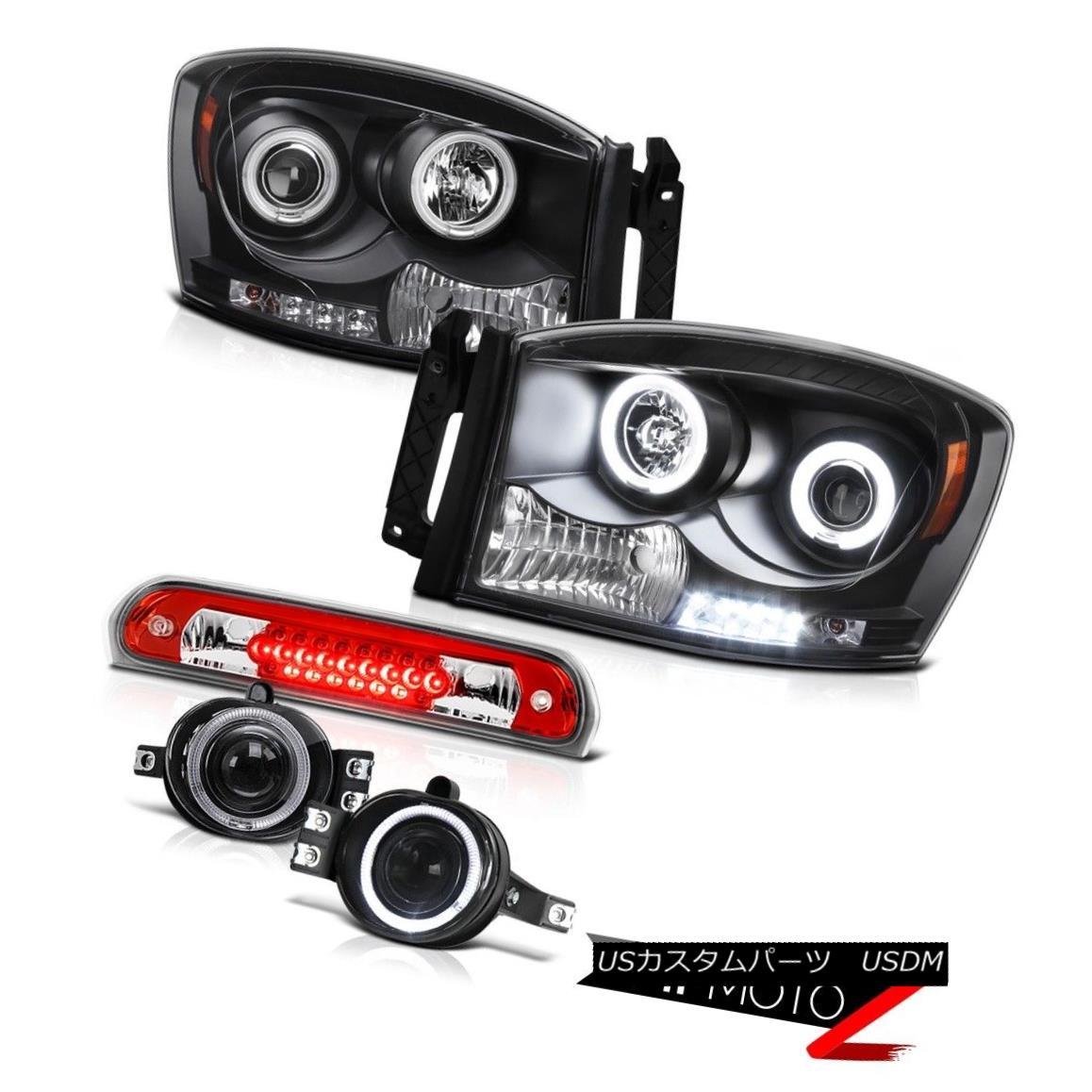 ヘッドライト Angel Eye CCFL Headlamps Projector Bumper Fog High Stop LED 07 08 Ram PowerTech エンジェルアイCCFLヘッドランププロジェクターバンパーフォグハイストップLED 07 08 Ram PowerTech