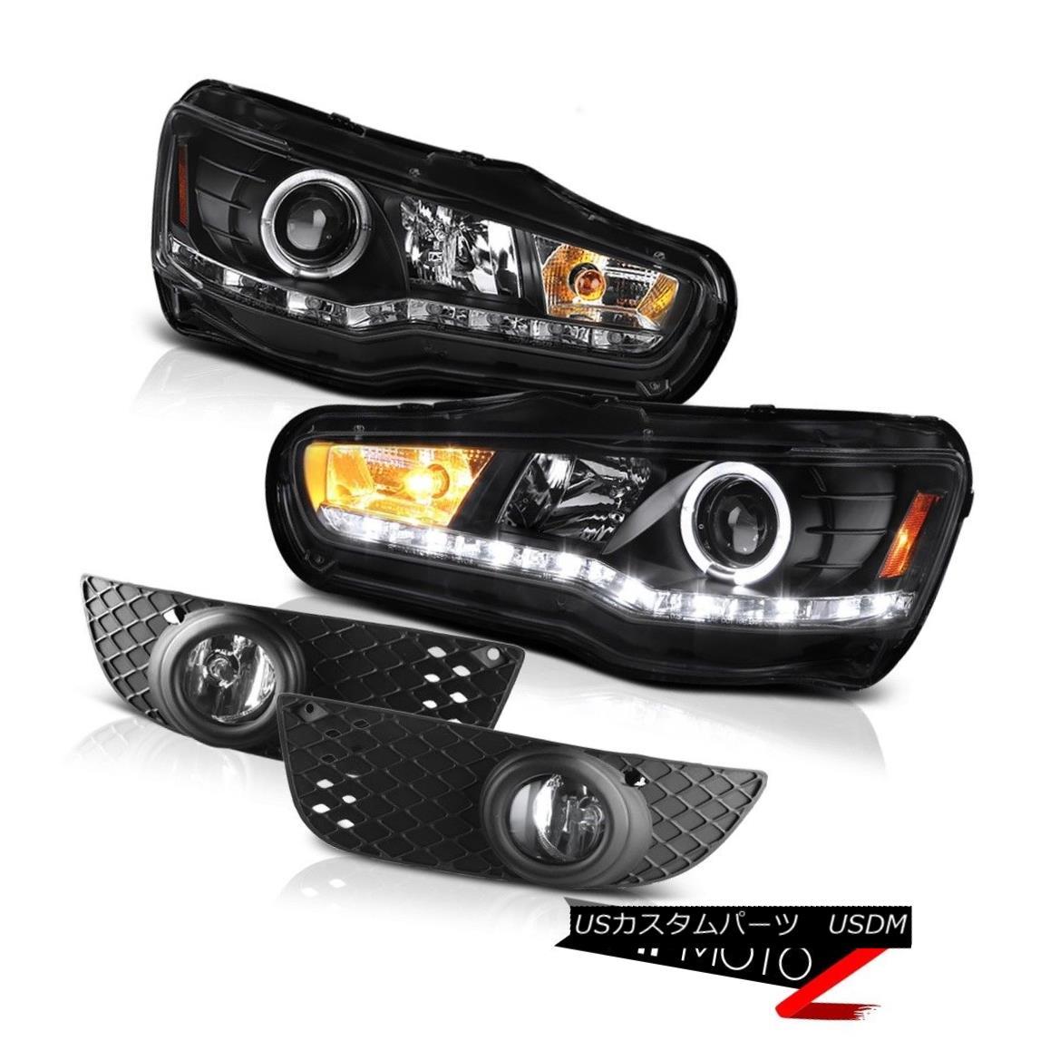 ヘッドライト 08-12 Mitsubishi Lancer GTS [D2S] Black Angel Eye Headlamp Clear Bumper Fog Lamp 08-12三菱ランサーGTS [D2S]ブラックエンジェルアイヘッドランプクリアバンパーフォグランプ