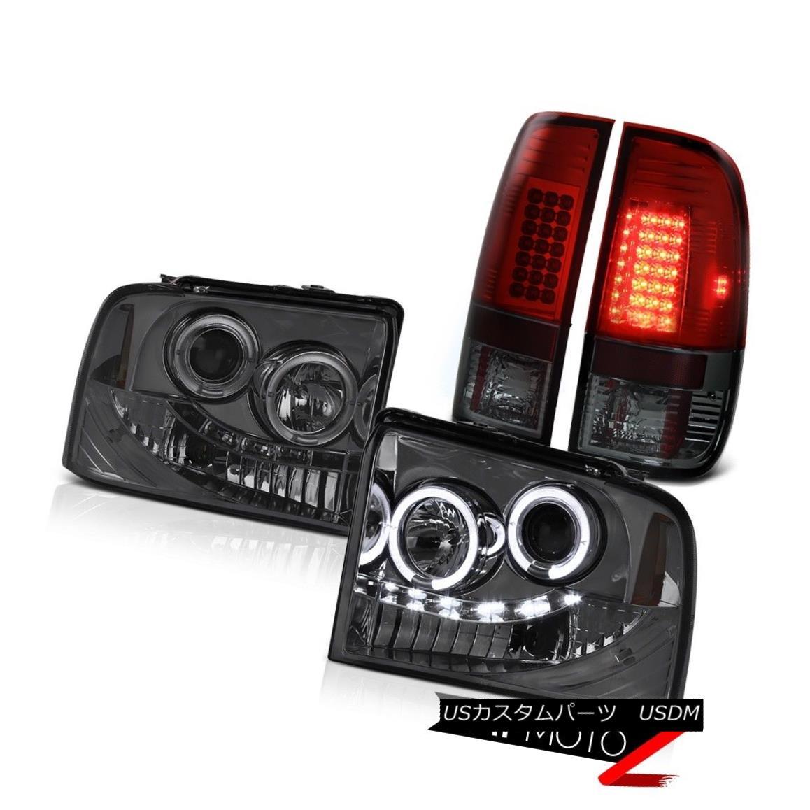 ヘッドライト LED Projector Headlight Smoke Cherry Red Tail Light Ford F350 XLT 2005 2006 2007 LEDプロジェクターヘッドライトスモークチェリーレッドテールライトフォードF350 XLT 2005 2006 2007