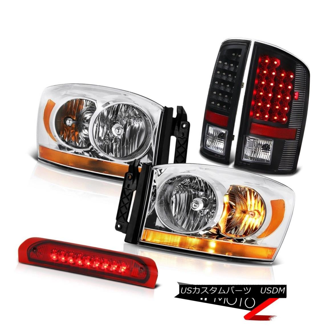 ヘッドライト 2007-2009 Dodge Ram 3500 5.7L Clear Chrome Headlights 3RD Brake Lamp Rear Lights 2007-2009 Dodge Ram 3500 5.7Lクリアクロームヘッドライト3RDブレーキランプリアライト