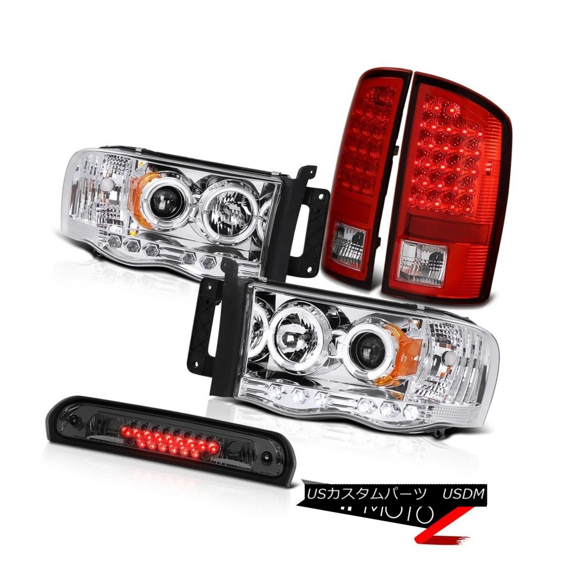 ヘッドライト 2X Angel Eye Projector Headlights Red LED Tail Lights Stop Tinted 02-05 Ram WS 2Xエンジェルアイプロジェクターヘッドライト赤LEDテールライトストップティント02-05 Ram WS