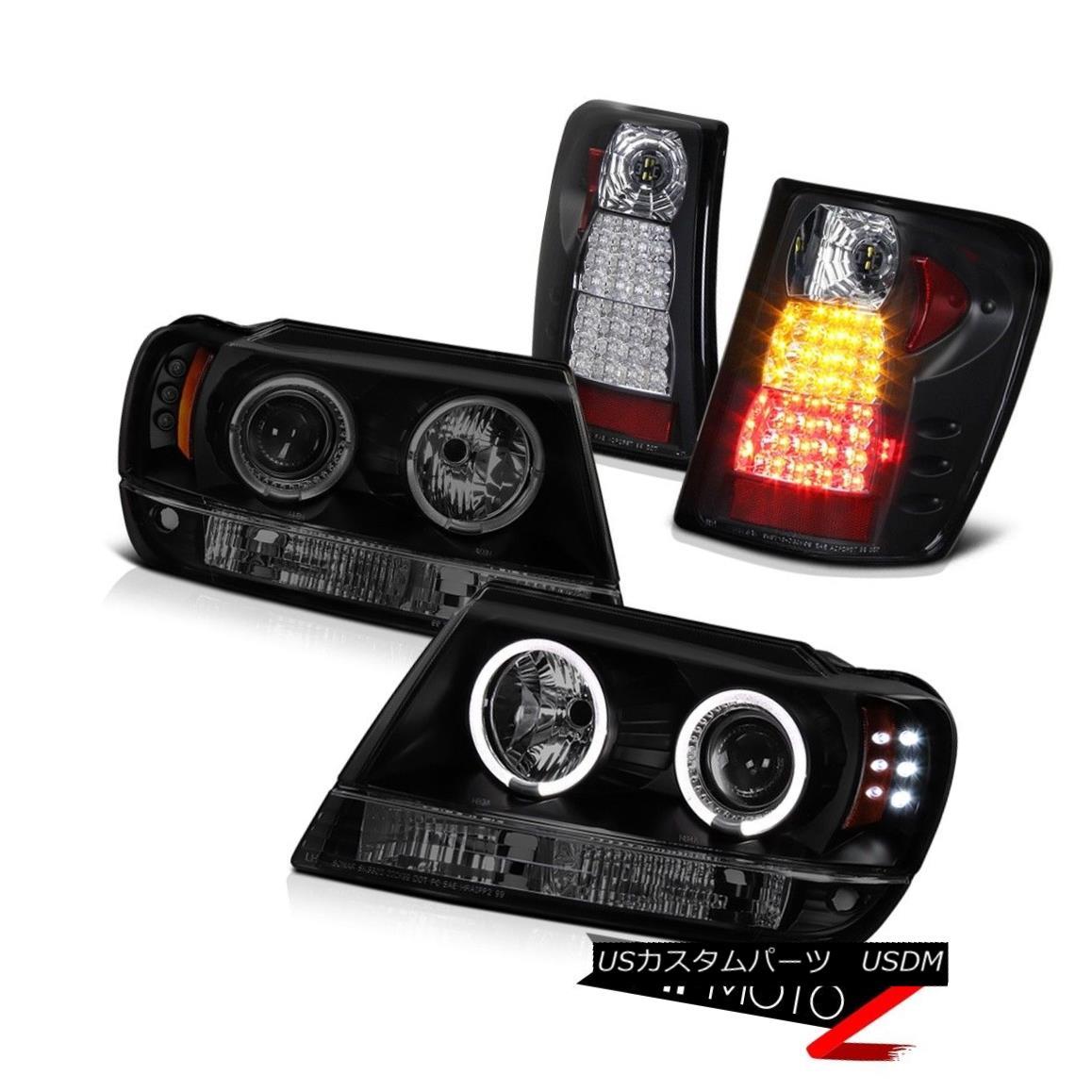 ヘッドライト 99-04 Grand Cherokee WG Overland Darkest Black Halo LED Head Light Rear Tail 4x4 99-04グランドチェロキーWGオーバーランドダークトブラックハローLEDヘッドライトリアテール4x4