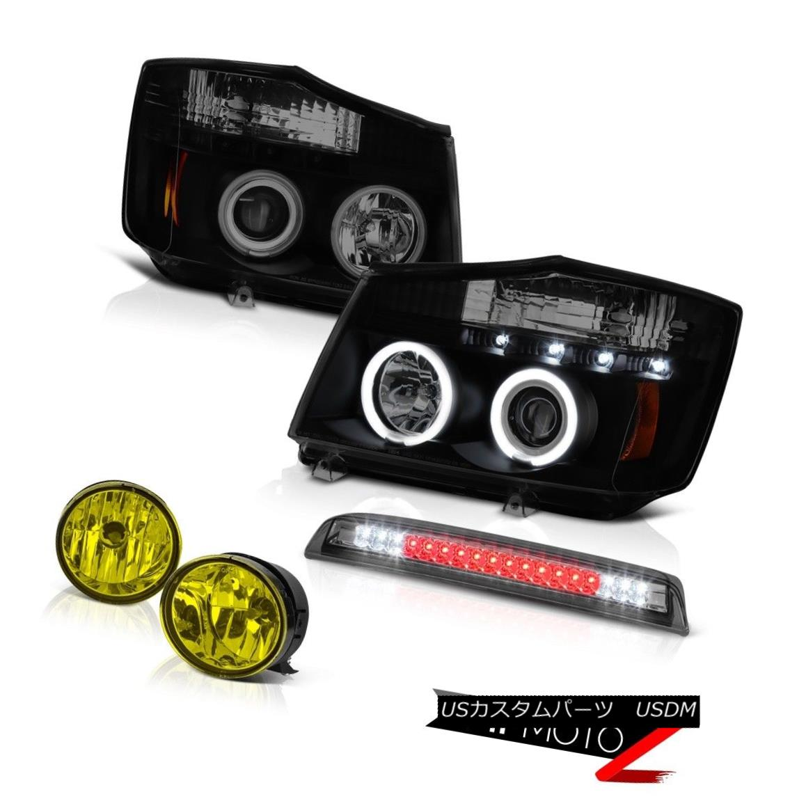 ヘッドライト For 2004-2015 Titan BRIGHT CCFL Ring Headlight Yellow Fog Tinted Roof Brake LED 2004年?2015年Titan BRIGHT CCFLリングヘッドライトイエローフォグティンテッドルーフブレーキLED