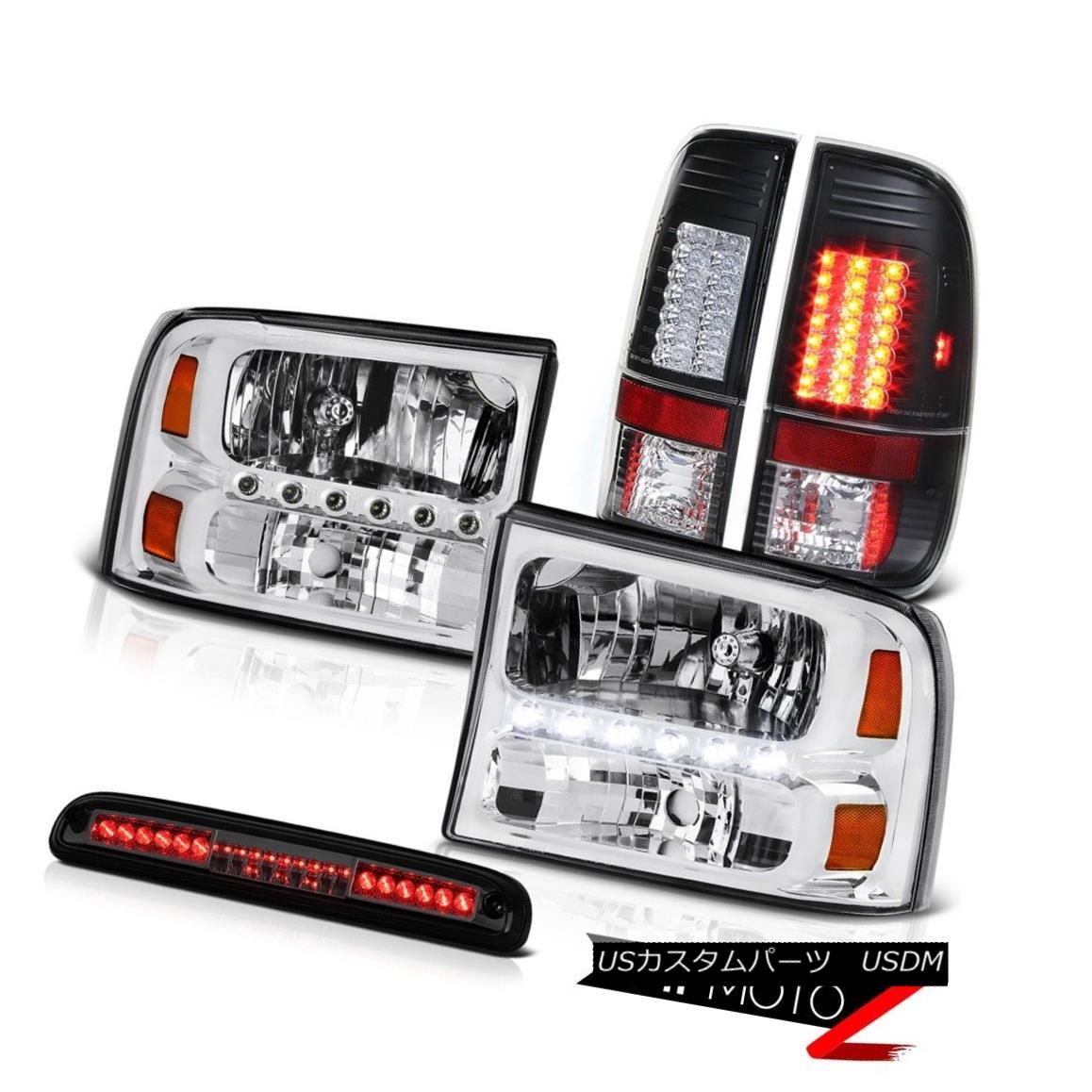 ヘッドライト 99-04 F350 Lariat Left Right HeadTailLamps Black LED TailLamps High Stop Smoke 99-04 F350 Lariat Left Right HeadTailLampsブラックLEDテールランプハイストップスモーク