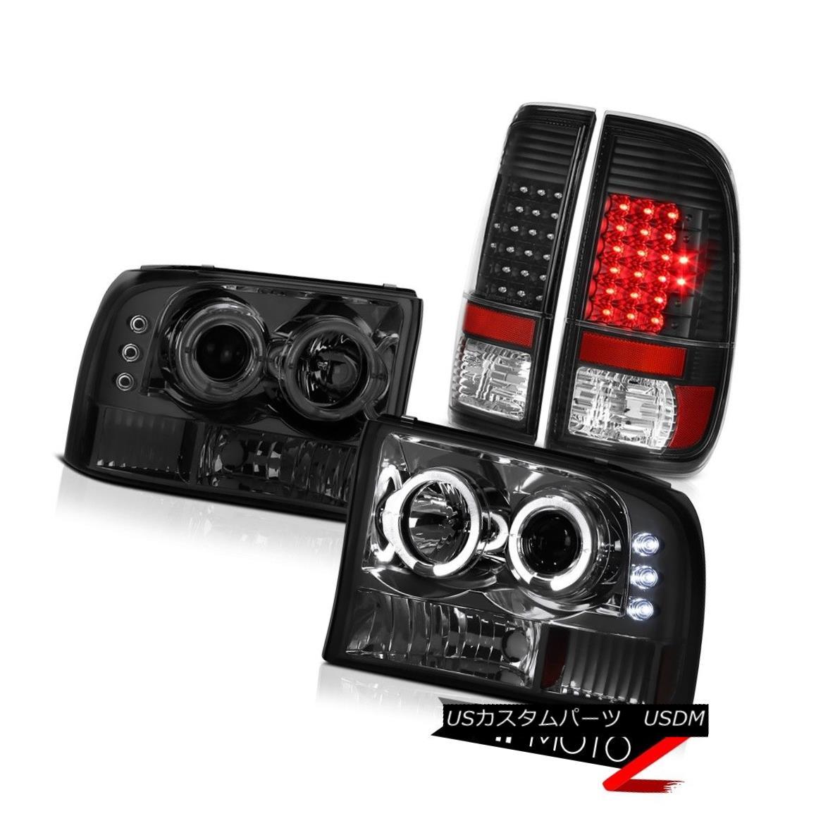 ヘッドライト Smoke Halo Projector Headlights LED Black Taillights 99 00 01 02 03 04 F250 6.0L スモークハロープロジェクターヘッドライトLEDブラックテイルライト99 00 01 02 03 04 F250 6.0L