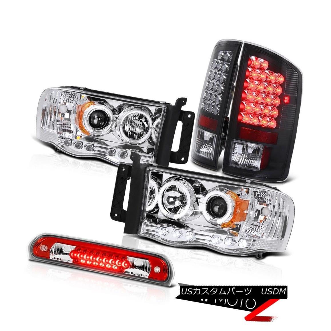 ヘッドライト Front LED DRL Headlamps Black Tail Lights Roof Brake Cargo 02 03 04 05 Ram SLT フロントLED DRLヘッドランプブラックテールライトルーフブレーキカーゴ02 03 04 05ラムSLT
