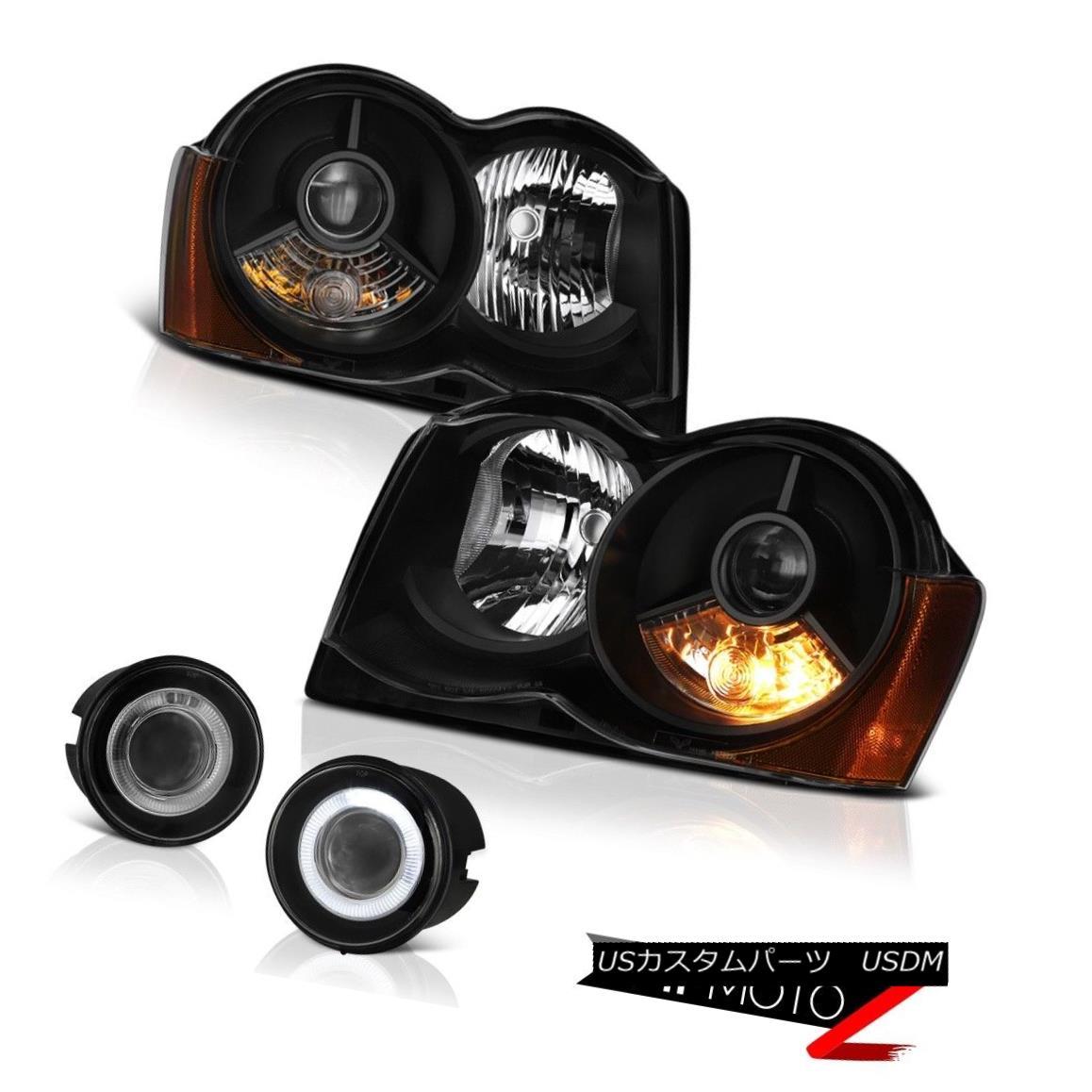 ヘッドライト 08-10 Jeep Grand Cherokee Laredo Infinity Black Headlights Euro Clear Fog Lamps 08-10ジープグランドチェロキーラレドインフィニティブラックヘッドライトユーロクリアフォグランプ