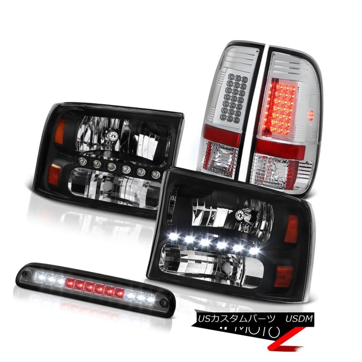 ヘッドライト Black Headlights Headlamps Tinted 3rd Brake LED Chrome Tail Light 99-04 F250 ブラックヘッドライトヘッドランプは第3ブレーキを発色します。クロームテールライト99-04 F250