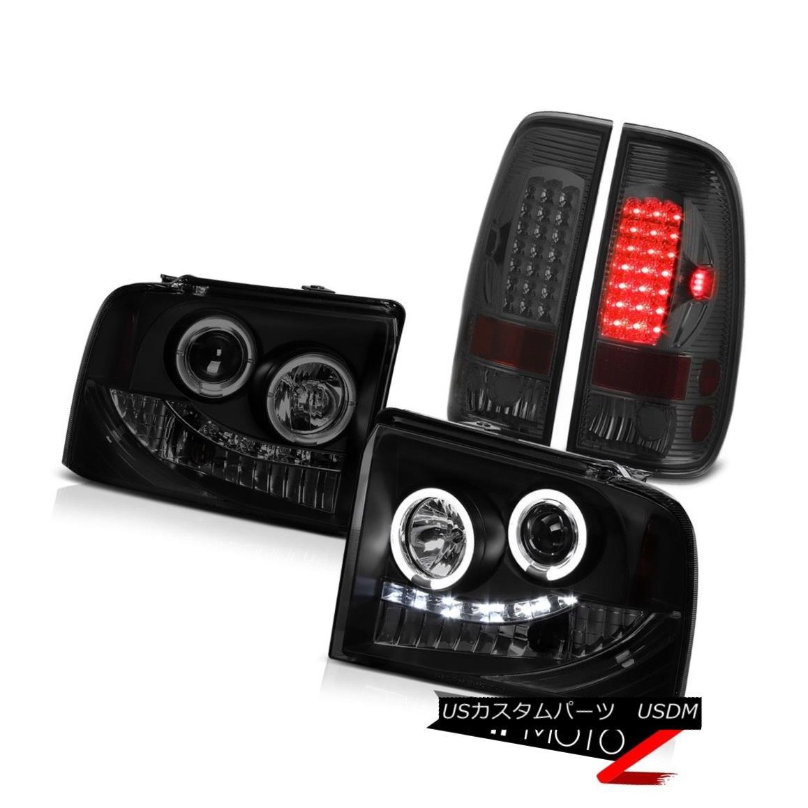 ヘッドライト Black Smoke Angel Eye Headlight Smoked LED Taillamps 05-07 Ford F350 Triton XLT ブラックスモークエンジェルアイヘッドライトスモークLEDタイルランプ05-07 Ford F350 Triton XLT