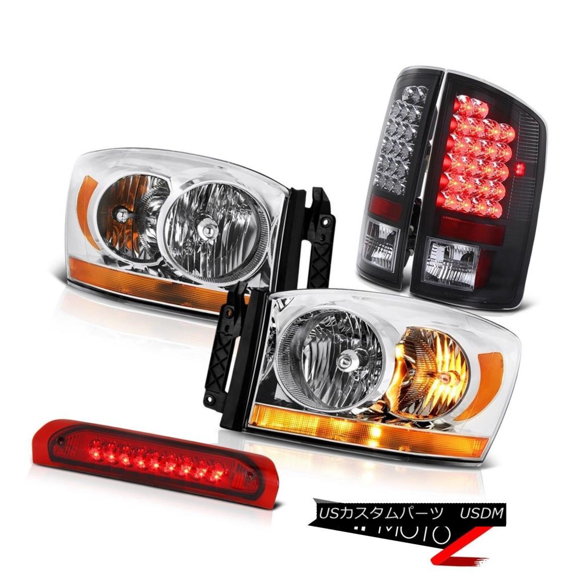 ヘッドライト 07-08 Dodge Ram 1500 5.9L Headlights Red 3RD Brake Light Raven Black Taillamps 07-08ダッジラム1500 5.9Lヘッドライトレッド3RDブレーキライトレーブンブラックタイランプ