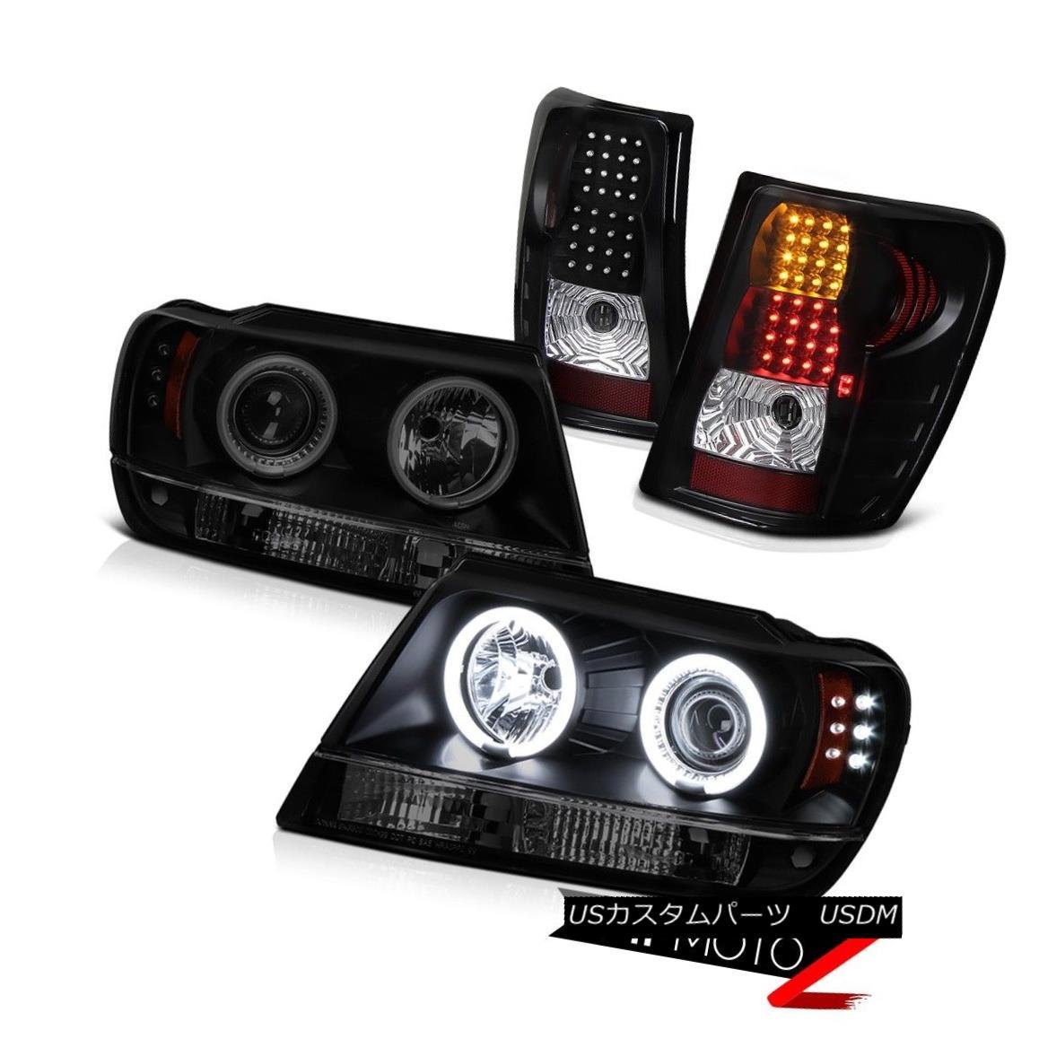 ヘッドライト 99-03 Grand Cherokee Daytime Running CCFL Halo Headlight Signal Brake Tail Lamp 99-03グランドチェロキー昼間CCFLハローヘッドライト信号ブレーキテールランプ