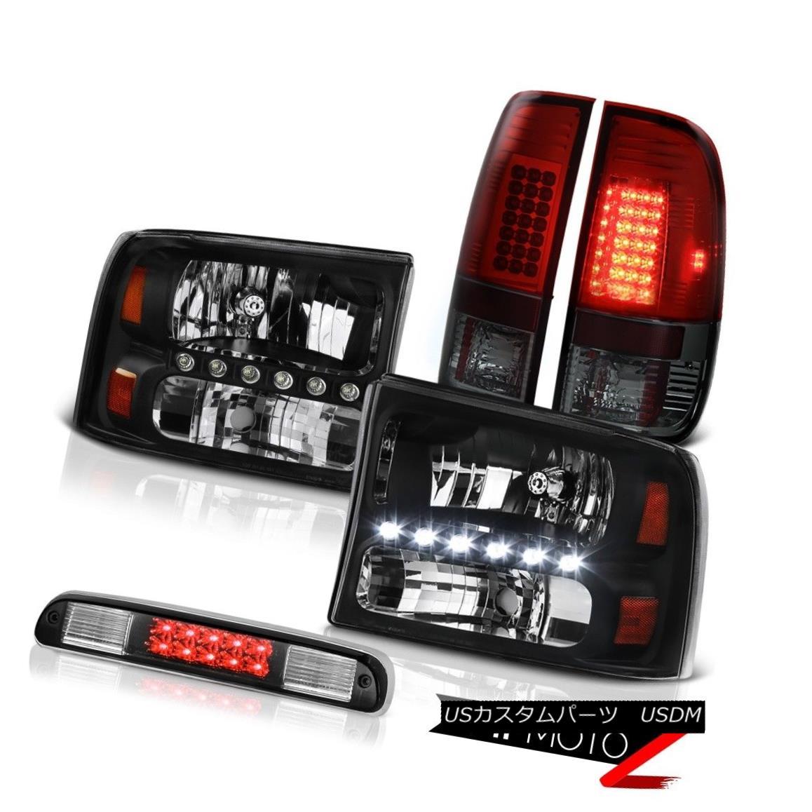 ヘッドライト Pair Black Headlights SMD Tail Lights High Stop LED 99 00 01 02 03 04 F350 6.0L ペアブラックヘッドライトSMDテールライトハイストップLED 99 00 01 02 03 04 F350 6.0L