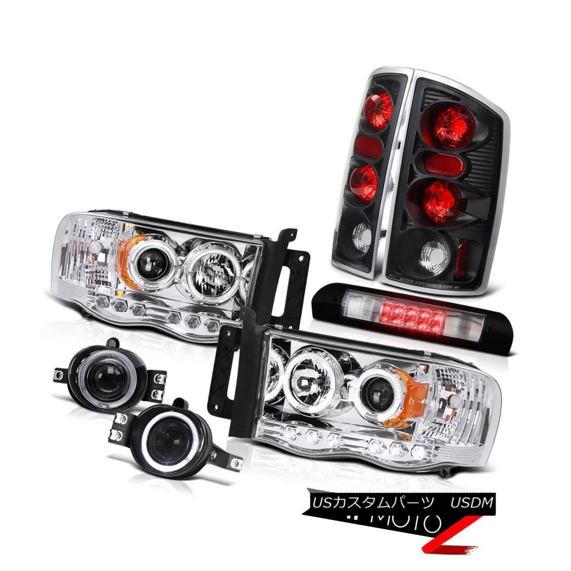 ヘッドライト Halo LED Headlamps Reverse Tail Lights Projector Fog Third Brake Cargo 02-05 Ram Halo LEDヘッドランプリバーステールライトプロジェクターフォグThirdブレーキカーゴ02-05 Ram