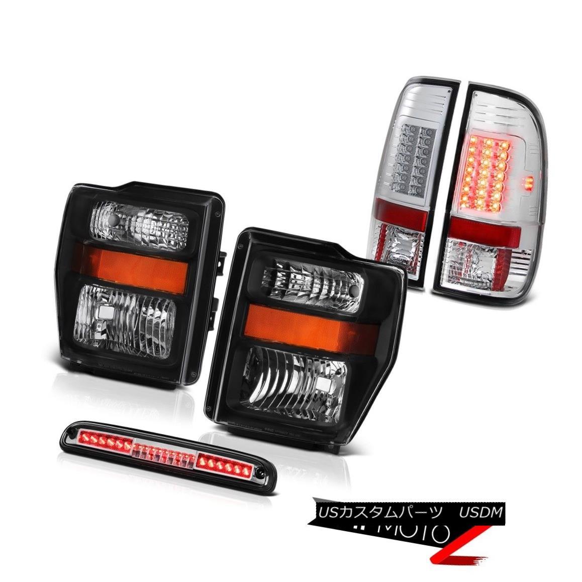 ヘッドライト Pair Black Headlamps Euro Third Brake LED SMD Rear Tail Lights 08-10 F250 Lariat ペアブラックヘッドランプユーロサードブレーキLED SMDリアテールライト08-10 F250ラリアート