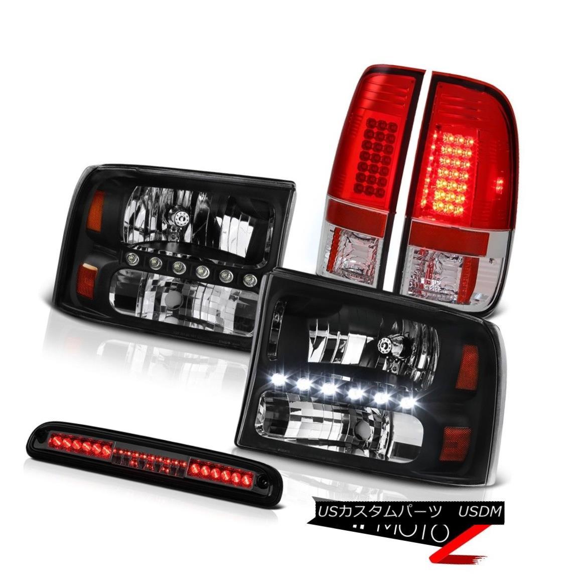 ヘッドライト 99-04 F250 XLT Black Headlights Red L.E.D Tint Tail Light High Third Brake Cargo 99-04 F250 XLTブラックヘッドライトレッドL.E.Dテントテールライトハイト第3ブレーキ貨物