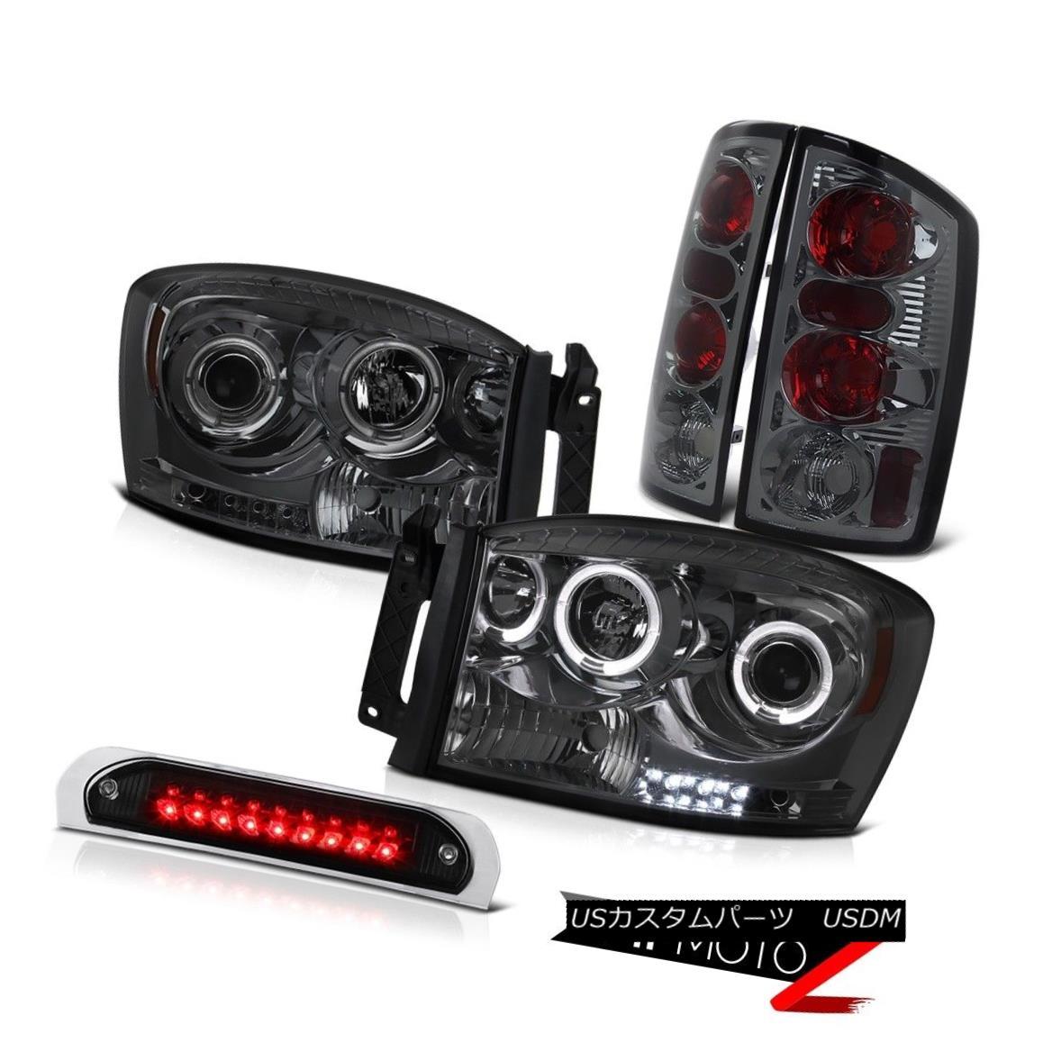 ヘッドライト Halo Smoke Headlights Rear Tail Lights Assembly Stop LED Black 2006 Ram SRT-10 Halo SmokeヘッドライトリアテールライトAssembly Stop LED Black 2006 Ram SRT-10