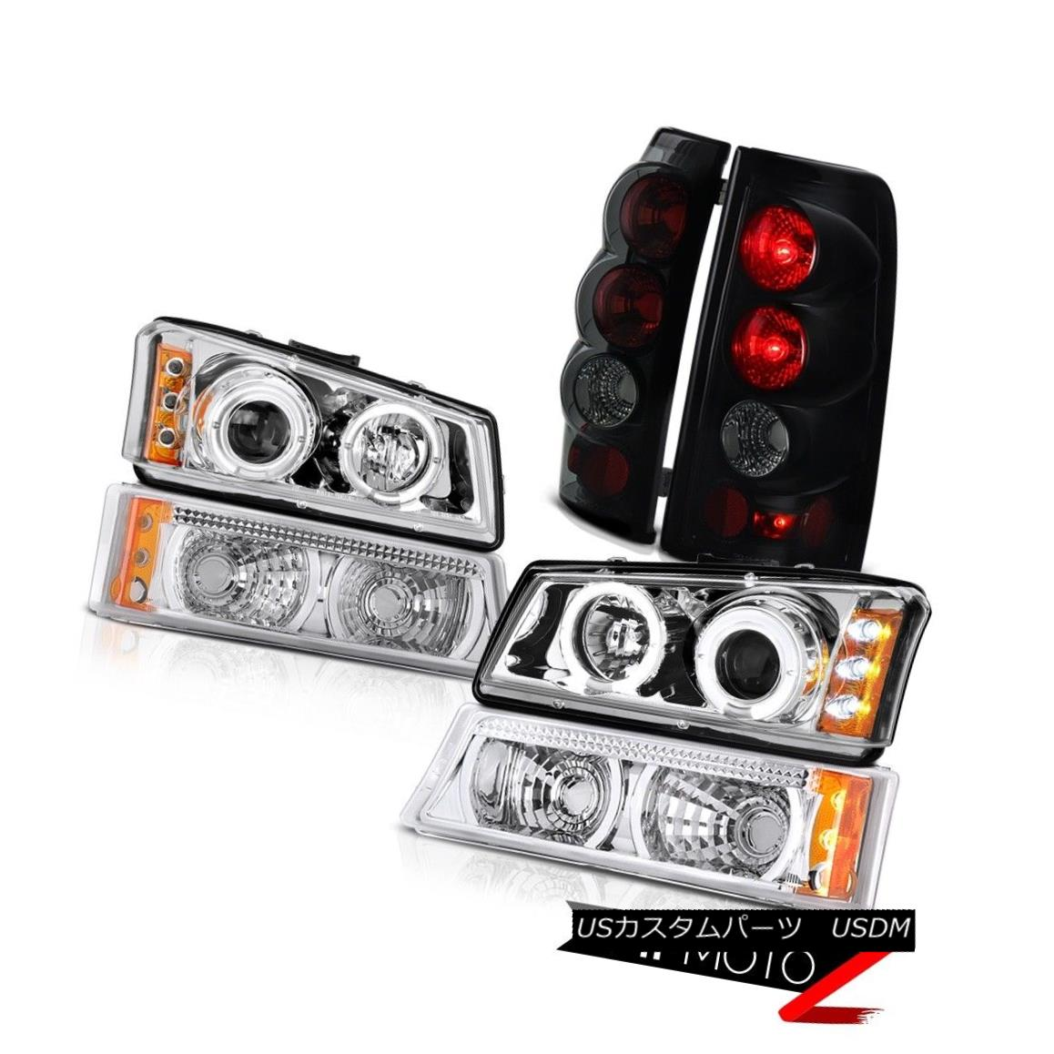 ヘッドライト 2003 2004 Silverado LTZ Chrome Halo LED Headlights Signal Smoke Black Tail Lamps 2003 2004 Silverado LTZ Chrome Halo LEDヘッドライト信号煙ブラックテールランプ