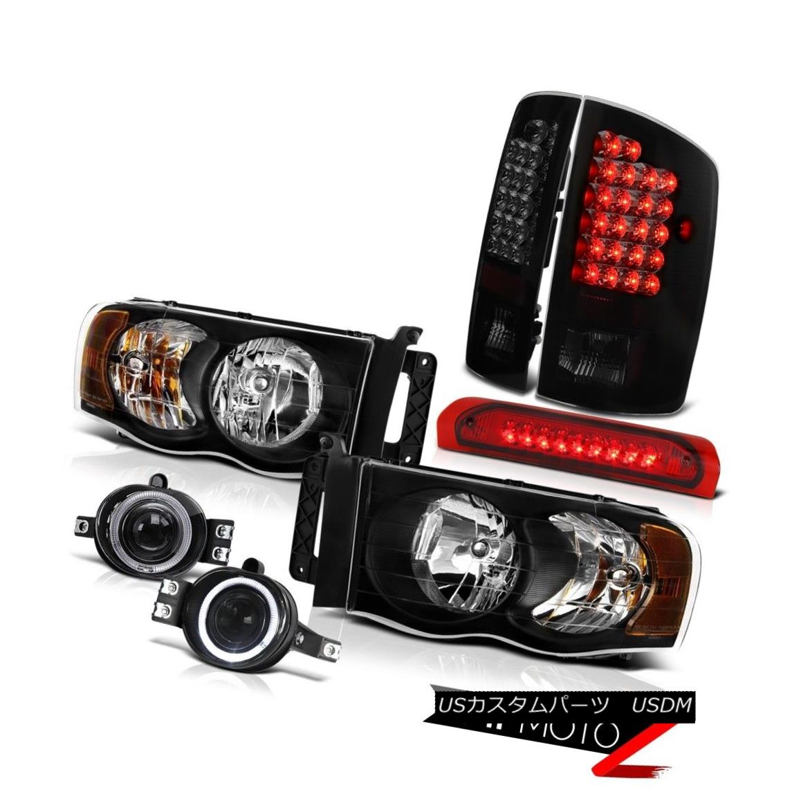 ヘッドライト 03-05 Ram 2500 Dual Halo Head Lights+Fog+3rd Brake+