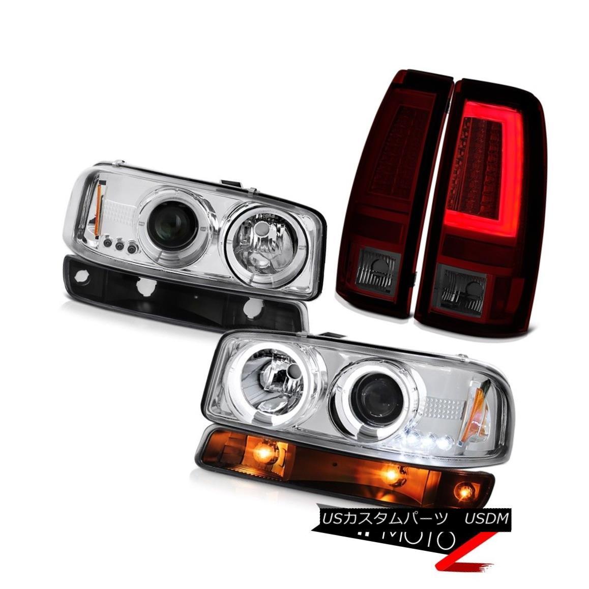 ヘッドライト 99-06 GMC Sierra Taillamps Matte Black Turn Signal Chrome Projector Headlights 99-06 GMC Sierra Taillampsマットブラックターンシグナルクロームプロジェクターヘッドライト