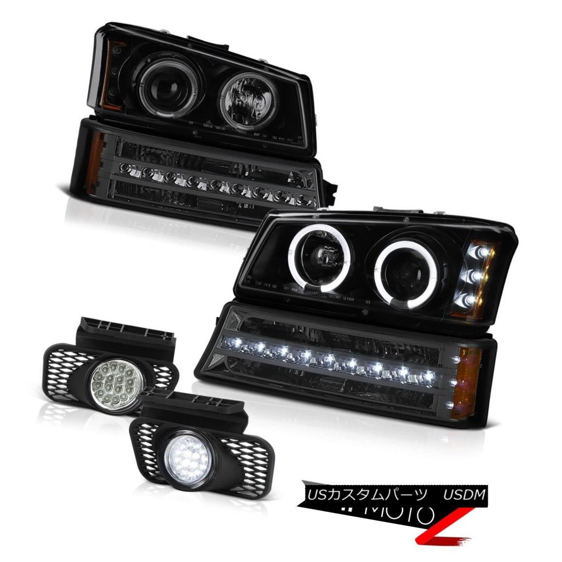ヘッドライト 03-06 Chevy Silverado Clear chrome foglights phantom smoke bumper lamp headlamps 03-06 Chevy Silveradoクリアクロムフォグライトファントムスモークバンパーランプヘッドランプ